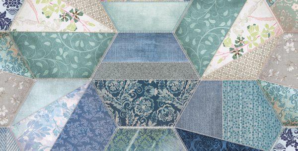 Hexágono Textil Blue Deco